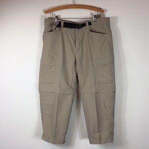 The North Face khaki Hiking zip off pants shorts